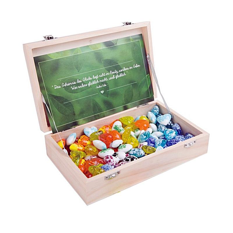 Glückssteine Glasherz, 120Stk in Holzbox