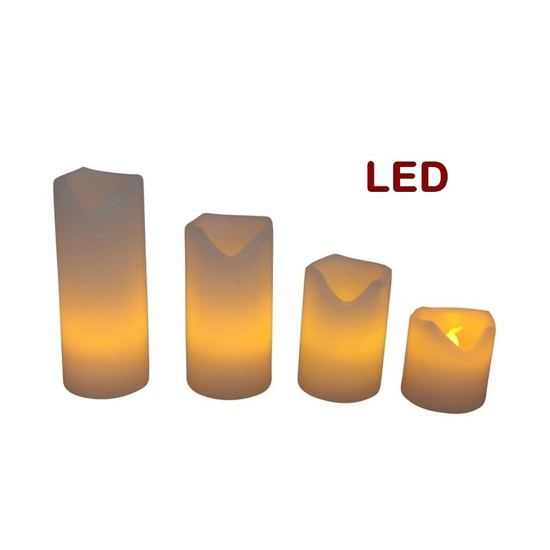 LED Kerzen Set 4Stk, d:5cm, flackernd