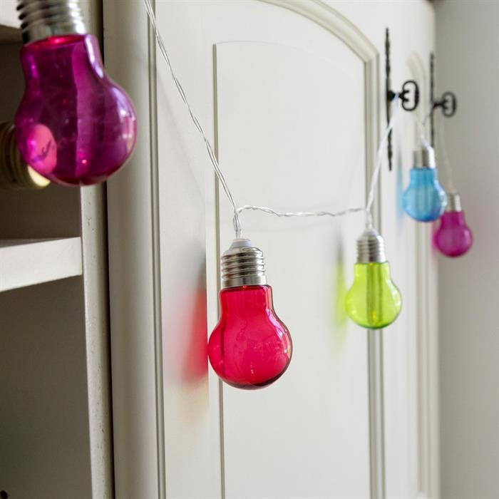 Lichterkette 10 Led Glühbirnen Bunt