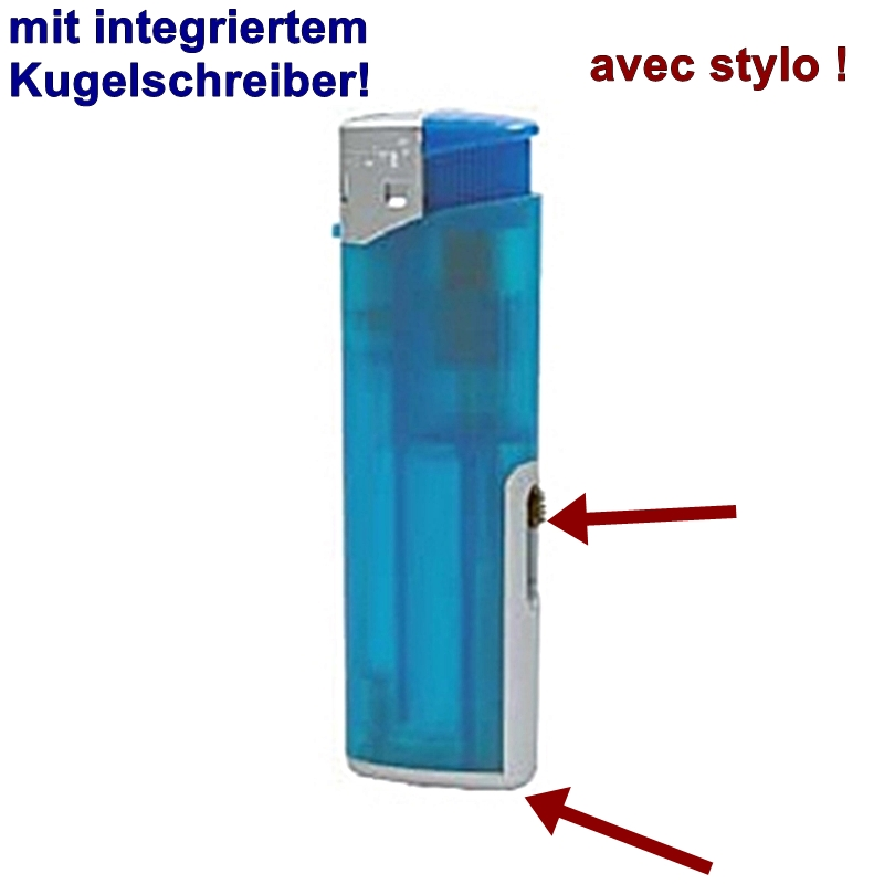 Feuerzeug UNILITE Blau,m. Kugelschreiber