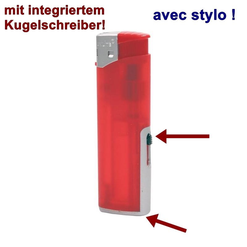 Feuerzeug UNILITE Rot,mit Kugelschreiber